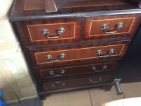 5x drawer chest mahogany with detail good condition 24 inch wide 16 inch deep 31 inch high, check my