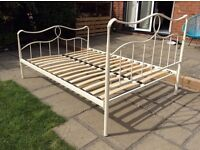 Metal double cream bed frame
