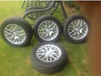 Alloy wheels, set of 4, tyre size 185/60 - 14. All tyres in good condition