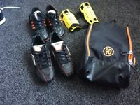 2 pairs football boots (size 4), shin pads and Nike boot bag