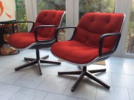 VINTAGE SET 4 RED KNOLL SWIVEL CHAIRS by Charles Pollock