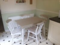Grey and soft painted white table and 4 chairs