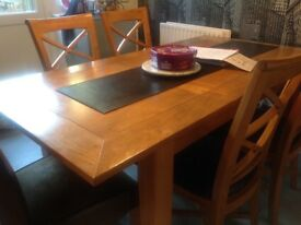 FURNITURE VILLAGE WOOD EXTENDABLE DINING TABLE WIH 4 LEATHER AND 2 SUEDE CHAIRS ONLY £350