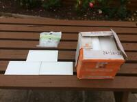 Brick size white Kitchen Tiles + bal adhesive + Tile Spacers approx 6 sq metres