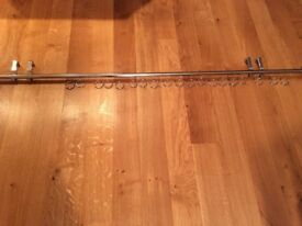 2metre long chrome curtain pole with all fittings