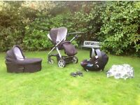 Mamas & Papas Sola travel system pushchair, carrycot, car seat and adaptors