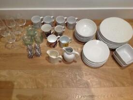 HUGE JOB LOT: Dinnerware/Glasses/Cups/Jars/Containers/Tins/Scales 100+ items - collect by vehicle
