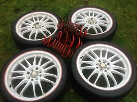 Alloy wheel rims x4 205 X 40 R 17 tyres..poison elf springs available too