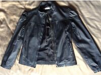 VGC Ladies Miss Selfridge Black Leather Jacket (UK Size 8 10)