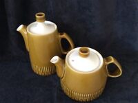 Vintage 1960s Denby crockery - coffee pot, tea pot, milk jug, sugar bowl And Tureen