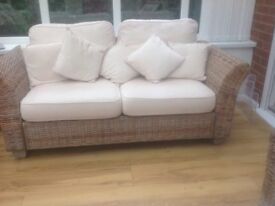 Rattan sofa, lamp table and stool. Immaculate