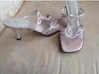 "LADIES SUMMER BACKLESS SANDALS WITH 3"" HEELS IN PINK"