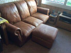 3 seater tan hyde leather sofa