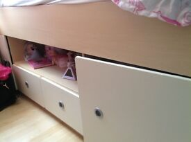 cabin bed in beech and white