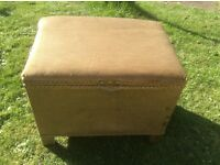 Gold Lloyd loom style stool with storage