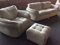 White/cream Leather Three Piece Sofa, Chair and Foot Stool.