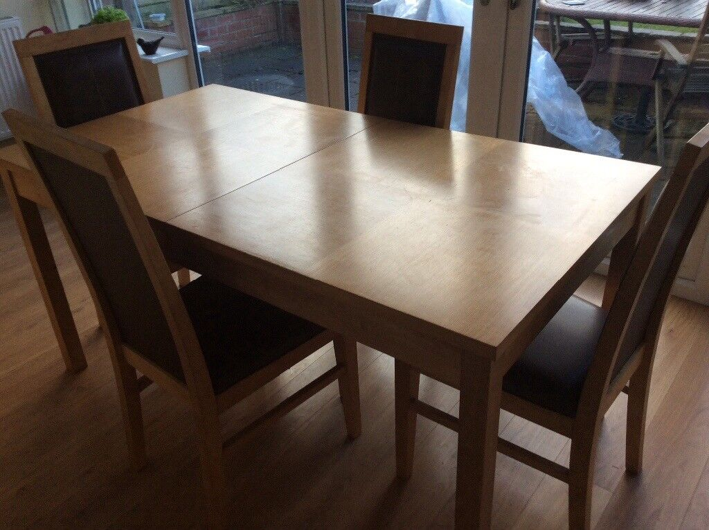 Beech Effect Dining Table And Chairs Expert Event - Extendable beech dining table