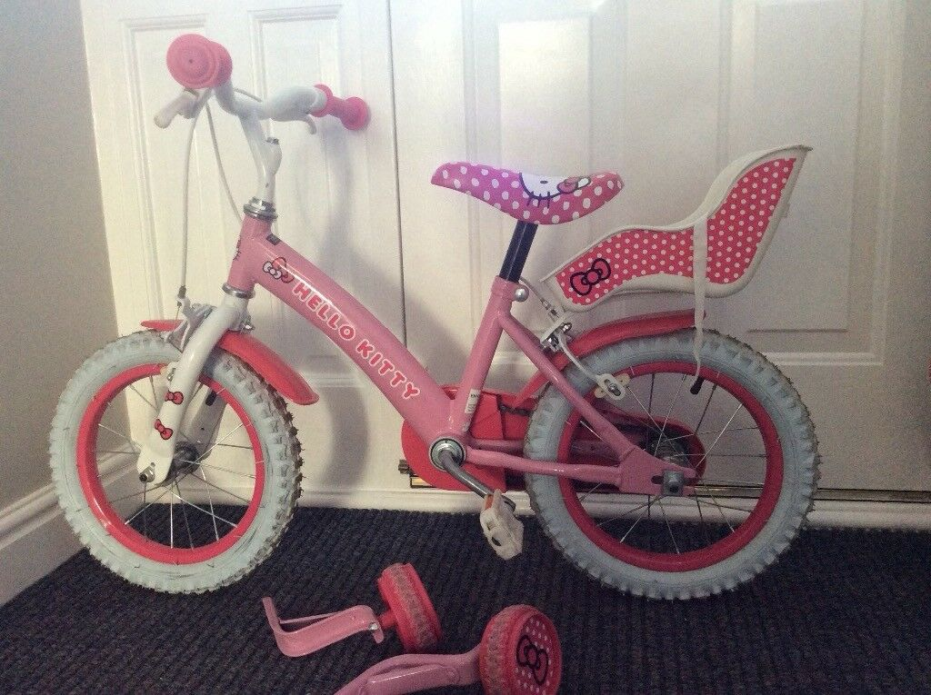Hello Kitty 14 Inch Girls Bike With Baby Seat Doll Carrier