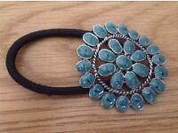 Turquoise Enamelled Flower Hair Tie *Christmas Stocking Filler or Secret Santa Gift*