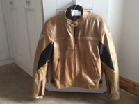 "Dainese tobacco brown men's leather bike jacket, size 42"" chest"