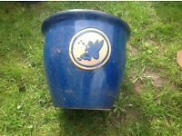 Here i have a stunning large blue fairy glazed garden pot