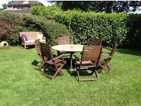 Good quality teak garden set table six 6 chairs