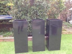 Zinc galvanised 1m tall planters