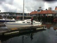 Jaguar 25, fin keel yacht, 6hp Tohatsu Sail Drive outboard,