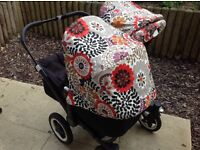 BUGABOO DONKEY. CUSTOM HOODS. GREAT COND. + EXTRAS. BLACK CHASSIS