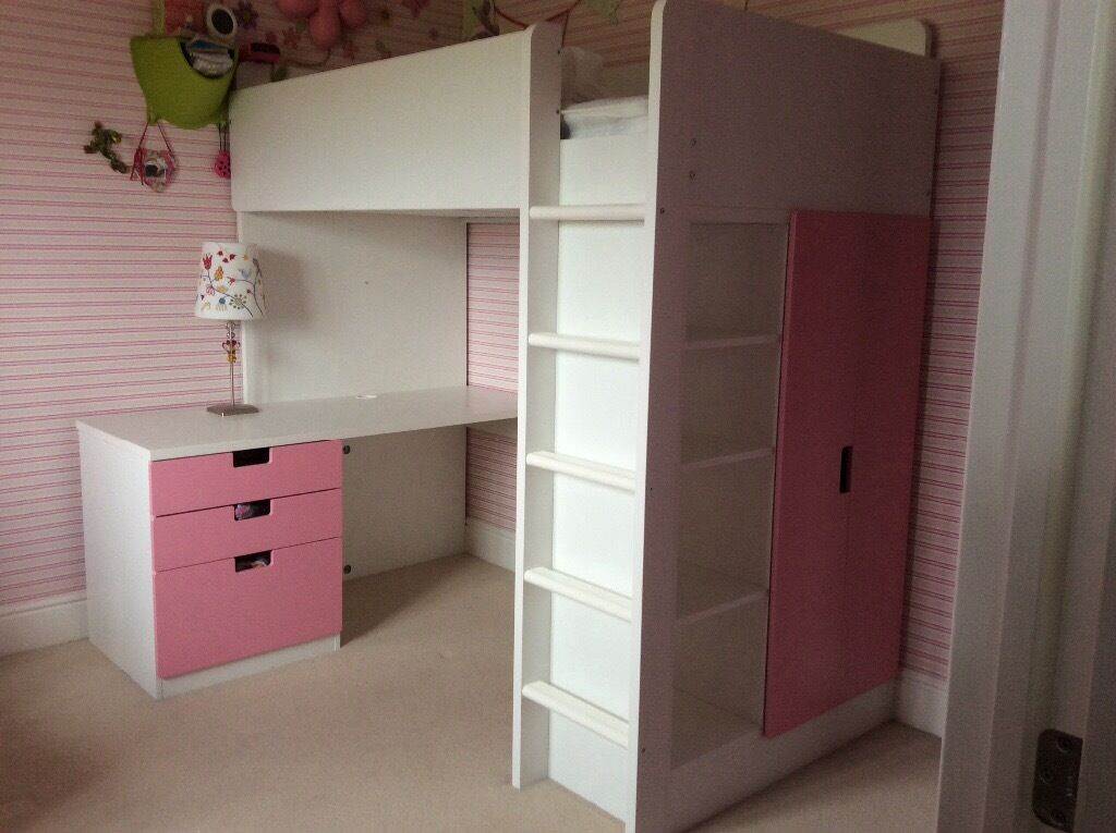 Ikea Stuva Loft Bed Combo With 3 Drawers 2 Doors White