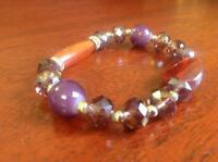 Magnificent pandora style , brown and Purple, amethyst  beads