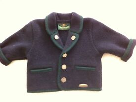Giesswein baby navy boiled wool jacket - new without tags 68 cm