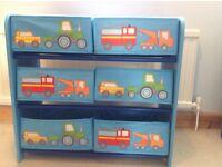 Toy Storage Unit with Transport Theme, Blue