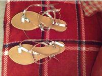 Zara strappey silver metallic sandals size 6/39 never worn