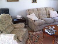 """THREE SEATER SOFA AND 2 ARMCHAIRS . L 84"""" H 36"""" D 32"""" GOOD CONDITION. £95. TEL: 07974 929577"""