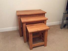 Nest of 3 Solid Oak Tables