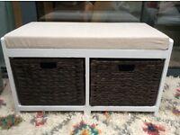 REDUCED: Hartley Cushion Seat & Seagrass Wicker shoe Storage Baskets Bathroom/Hallway