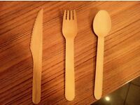 Biodegradable Forks Knives Spoons Wooden Pack of 100 Brand New £3.50 each