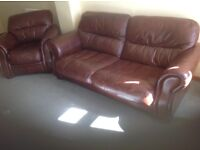Lovely chocolate brown 3 seater leather sofa and chair