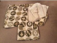 NEXT boys army design blackout curtains and matching single duvet set
