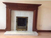 Solid Wood Fire Surround, Marble Back Drop and Hearth