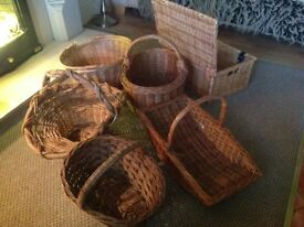Collection of 6 Used Wicker Baskets