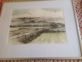 A beautiful original pencil and charcoal drawing of The Mournes from Dundrum by Richard Croft