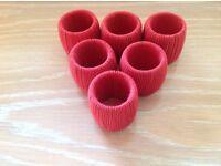 Set of 6 Red Threaded Napkin Rings