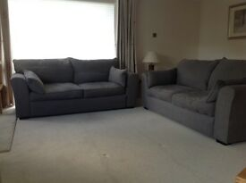 Collins & Hayes Remus 3 seater sofas in Grey fabric. 3 yrs old. Cost £3,200 from Furniture Village