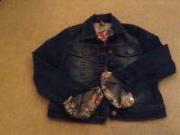 Girls Denim Jacket with floral cuffs 9/10 yrs BNWT