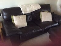 2 Large Brown Leather Sofas (Very comfortable)