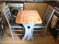 VINTAGE/SHABBY CHIC SOLID PINE TABLE AND TWO WOODEN CHAIRS