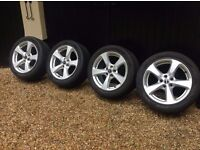4 x Borbet alloy wheels with Nokian winter tyres. Suit Audi A4 (B8) or similar. Immaculate.
