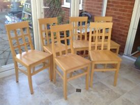 Beech dining chairs (6) in good condition. Originally from The Pier. Colour as per photo.